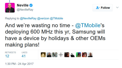T-Mobile CTO Neville Ray says that a new Samsung phone supporting 600MHz band will be here by the holidays