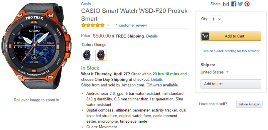 Casio Pro Trek F20 smartwatch with Android Wear 2.0 hits the shelves for $500