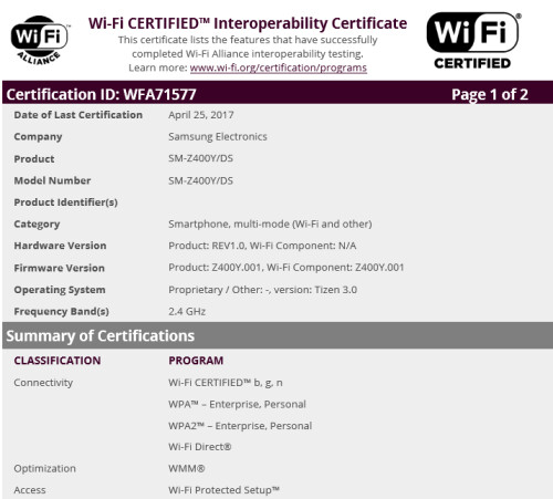 Wi-Fi certification for the Samsung Z4