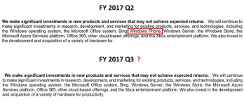 Windows Phone was listed in the previous quarterly 10Q (on top) as a product line that Microsoft is making investments in. The latest 10Q doesn't include Windows Phone