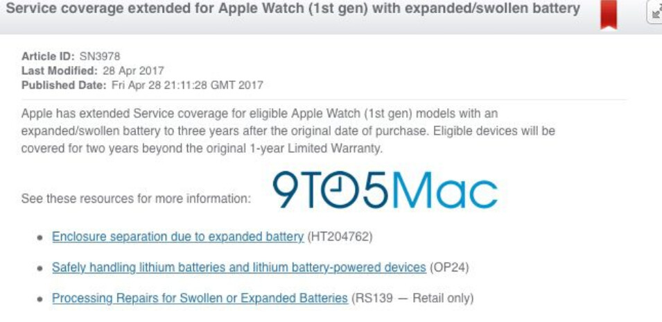 Leaked document reveals Apple's plan to give certain OG Apple Watches a 3-year warranty