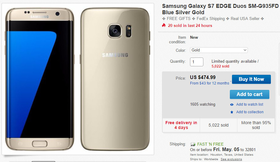 Deal: Unlocked Samsung Galaxy S7 edge on sale for just $475 on eBay