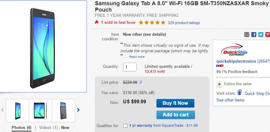 Deal: Samsung Galaxy Tab A 8.0 costs just $99.99 on eBay