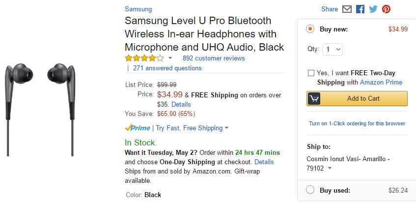 Deal: Samsung Level U Pro Bluetooth earphones get a huge 65% discount on Amazon