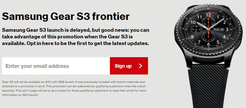 Verizon delays Samsung Gear S3 Frontier smartwatch until the end of June