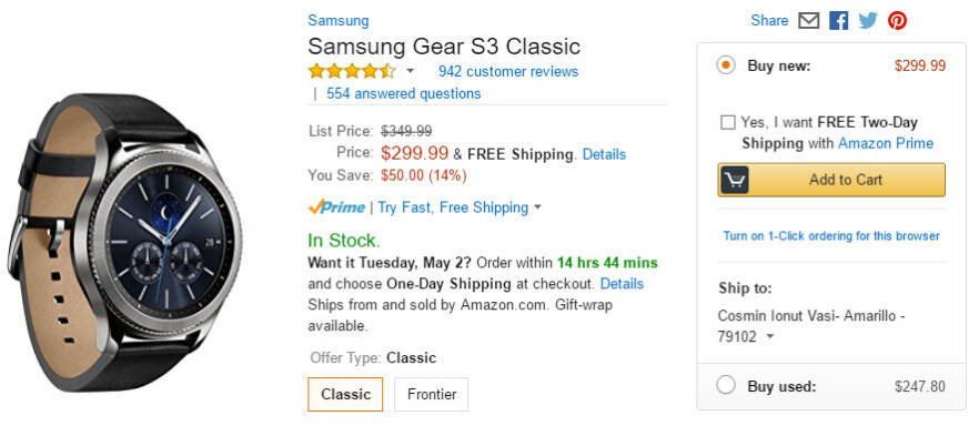 Deal: Save 15% on Samsung Gear S3 Classic and Frontier, now just $299.99