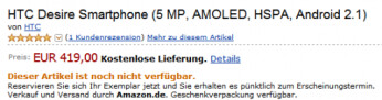HTC Desire on sale at Amazon in Germany