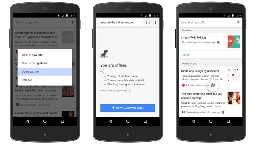 Google Chrome for Android now has enhanced features for offline use