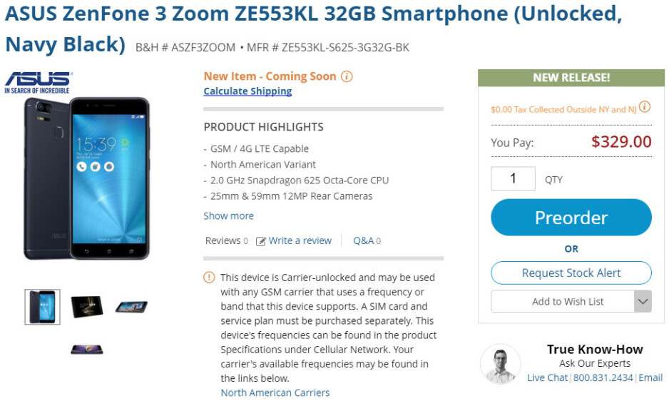 Asus ZenFone 3 Zoom goes on pre-order in the US, costs less than expected