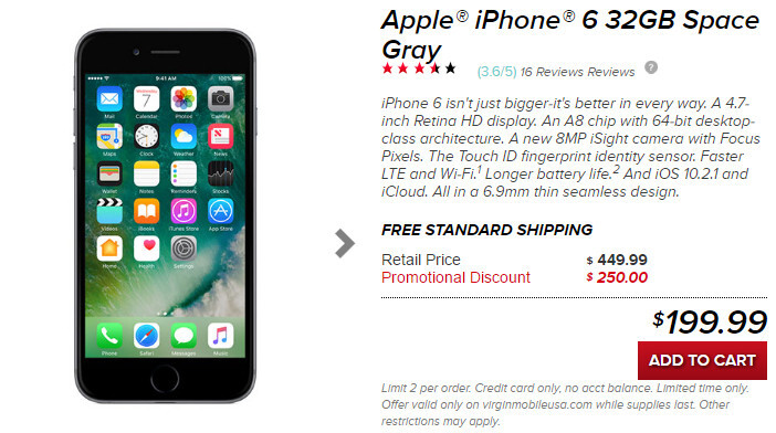 deal 32gb space gray iphone 6 is just 200 without contract at virgin mobile. Black Bedroom Furniture Sets. Home Design Ideas