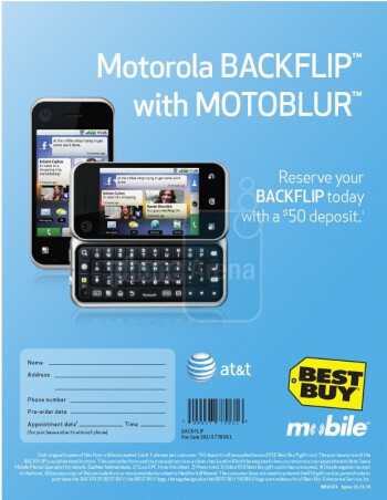 Best Buy now offering $50 deposit for the Motorola BACKFLIP pre-order