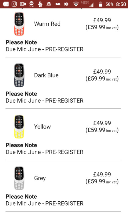 Nokia 3310 feature phone is no longer available for pre-order at Clove - Nokia 3310 pre-orders canceled by Clove UK?