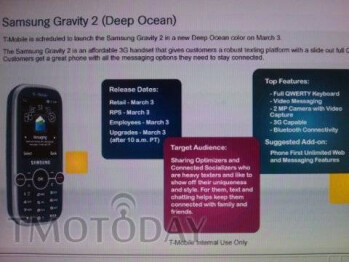 T-Mobile plans on releasing the Samsung Gravity 2 in Deep Ocean on March 3?