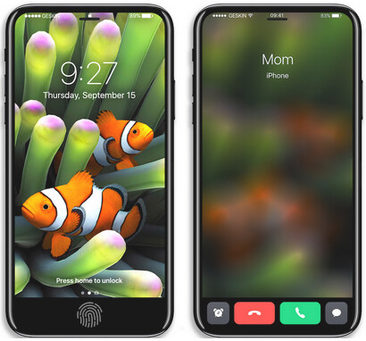 """Renders of an iPhone 8 concept with an embedded Touch ID under the display - Kuo says Apple iPhone 8 faces """"worse case scenario"""" shortage"""