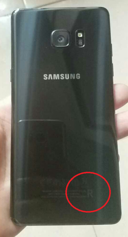 The R (circled) means that the phone pictured is the refurbished Samsung Galaxy Note 7R - Samsung Galaxy Note 7R is listed for sale in China
