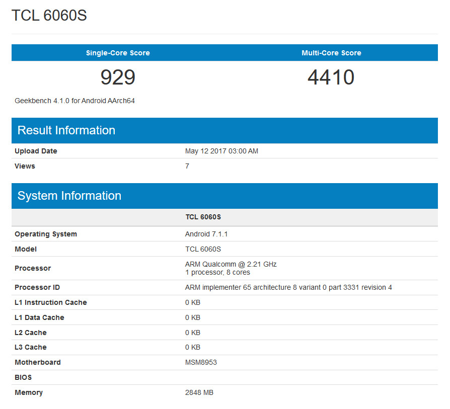 For the second time, the Alcatel Idol 5 makes an appearance on Geekbench - Alcatel Idol 5 visits Geekbench for the second time