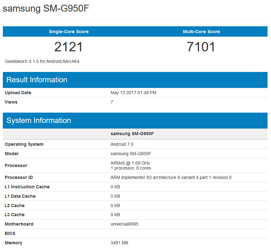 Samsung Galaxy S8 tops 7000 on the Geekbench multi-score results - Samsung Galaxy S8 powered by the Exynos 8895 SoC, breaks the 7000 ceiling at Geekbench for multi-core score