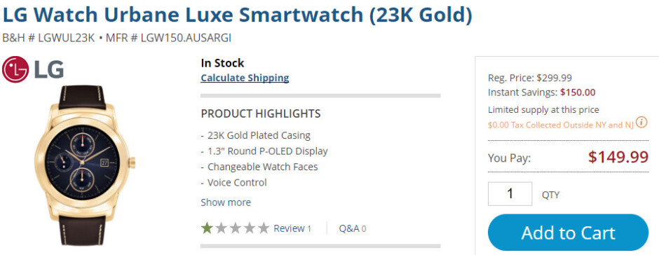 Deal: The gold-plated LG Watch Urbane Luxe is just $150 (50% off) on B&H