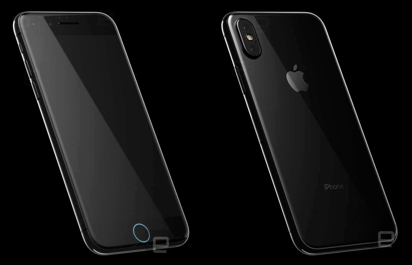 new iphone 8 renders reveal apple is switching to glass design vertical dual camera and two. Black Bedroom Furniture Sets. Home Design Ideas