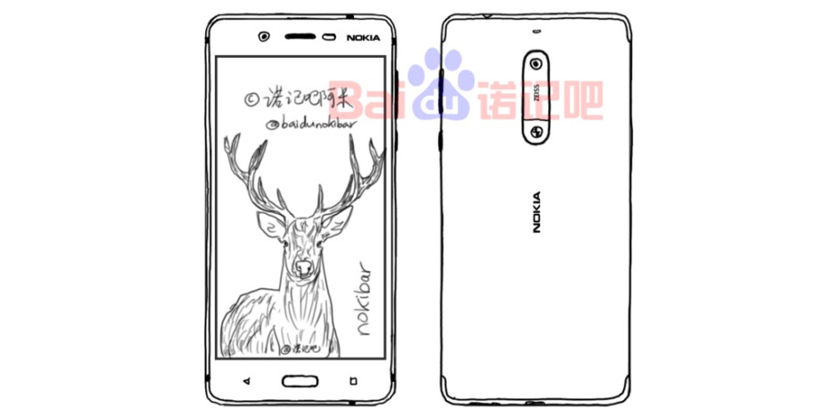 A purported sketch of the Nokia 8 which is much closer to what can be seen in the video - The Nokia 8 and 9 make a surprising appearance in an official introduction video