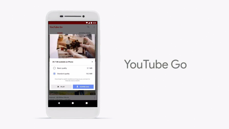 YouTube Go will let you preview and download videos - Google announces Android Go, a new set of features and apps for low-end devices