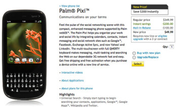 Sprint quietly lowers the price of the Palm Pixi to $49.99