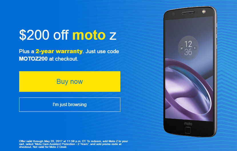 Deal: Get an unlocked Moto Z with Moto Care Protection for $499 (limited time offer)