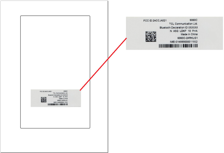 Placement of FCC sticker in the Cricket version of the Alcatel Idol 5 - Alcatel Idol 5 for Cricket (6060C) receives FCC certification
