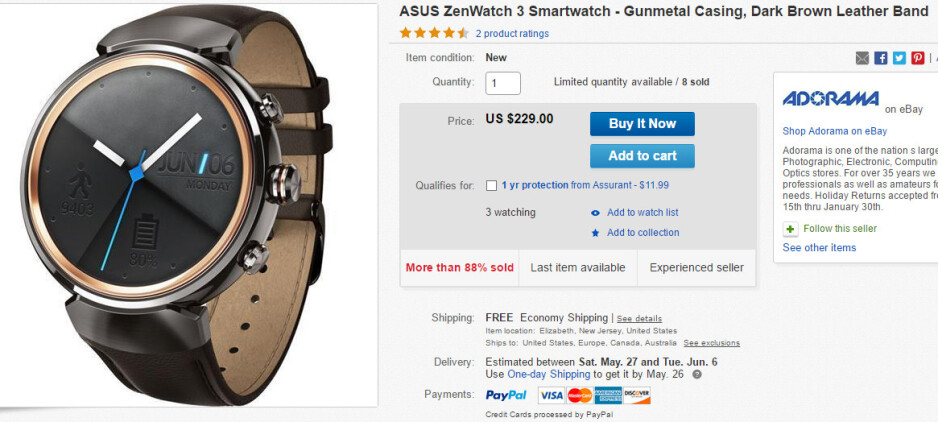 Deal: Asus ZenWatch 3 is 20% off on eBay, limited quantity available