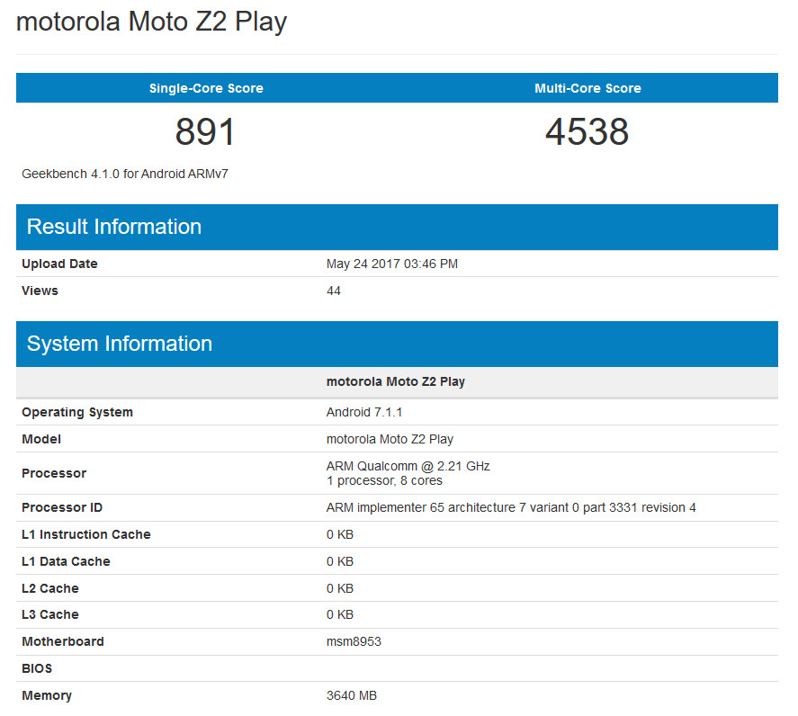 The Moto Z2 Play appears on the Geekbench benchmark site - Moto Z2 Play appears on Geekbench showing improvement in user experience