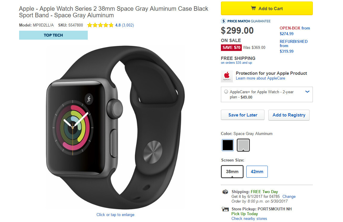Deal: Save $70 on all Apple Watch Series 2 models at Best Buy (4-day ...