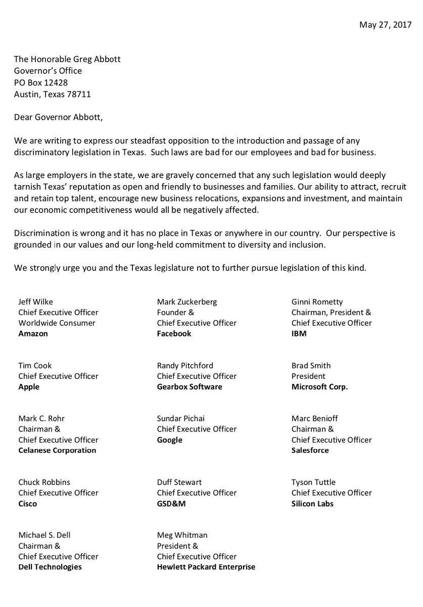 """A copy of the letter was posted on Twitter by Marc Benioff, CEO of Salesforce - Tim Cook, Zuckerberg and 12 other tech bosses oppose the """"Bathroom bill"""" in a letter to Texas' Governor"""