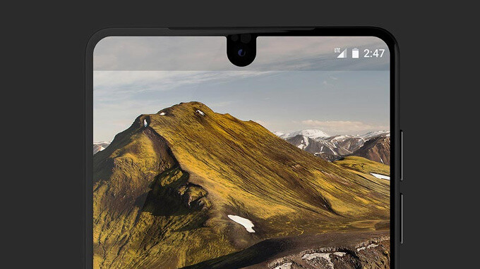 The cutout display, front and center - The Essential Phone has a weird cutout display