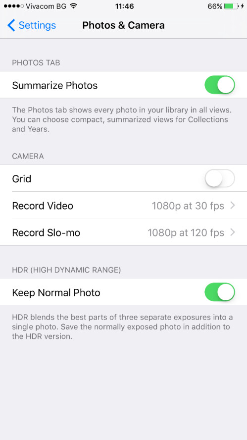 Video resolution settings inside camera app