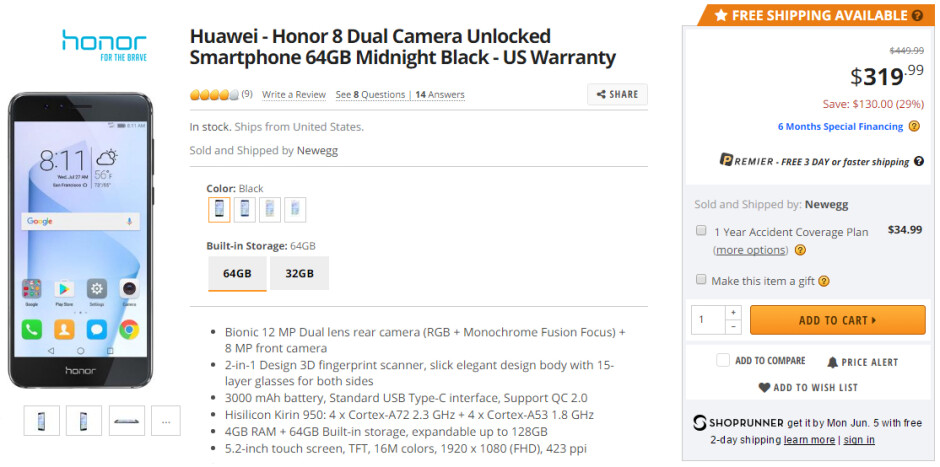 Deal: Honor 8 64 GB discounted to $320 again