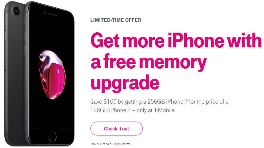 T-Mobile takes $100 off the price of iPhone 7 256 GB, offers free