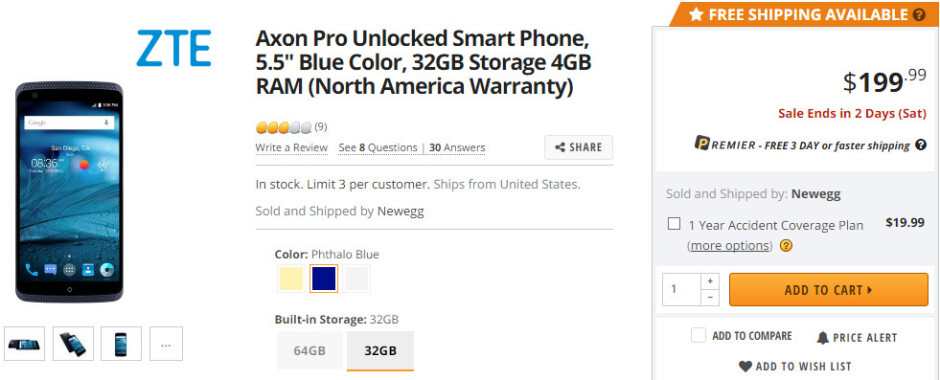 Deal: ZTE Axon Pro 32GB on sale for just $180 at Newegg