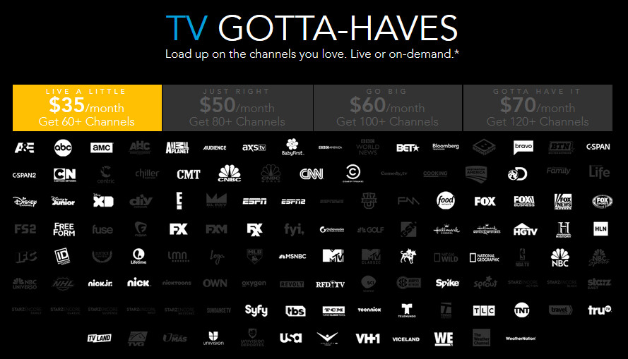 These are the networks that come with the DirecTV Now app on AT&T's $70 a month unlimited bundle - AT&T bundles unlimited data plan and DirecTV Now for as low as $70 a month