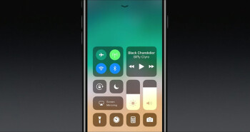 The iOS 11 Control Center. Buttons support Force Touch, as before