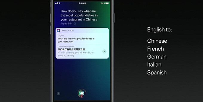 Siri in iOS 11 can translate English into other languages. With pronunciation! - iOS 11 is announced with improvements to Siri, Apple Pay, Photos and lots more