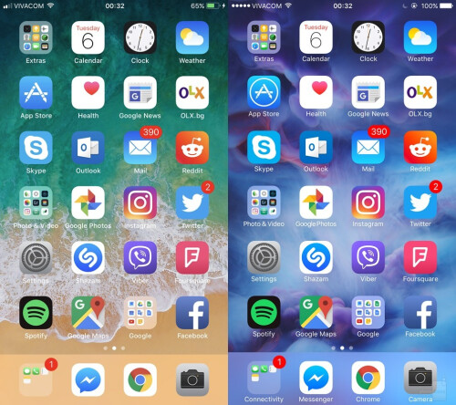 Homescreen - iOS 11 (left) vs iOS (right)
