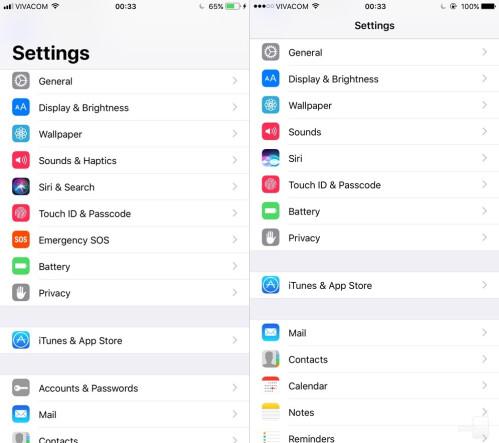 Settings #2 - iOS 11 (left) vs iOS (right)