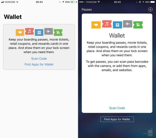 Wallet - iOS 11 (left) vs iOS (right)