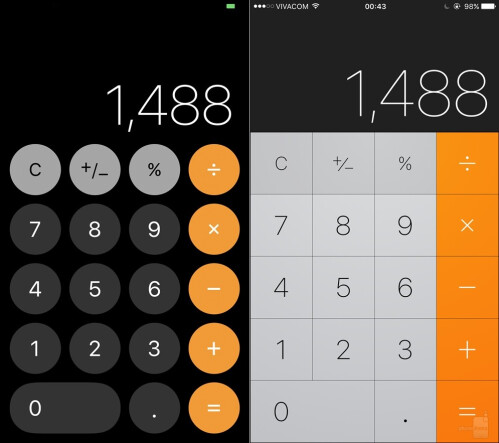 Calculator - iOS 11 (left) vs iOS (right)