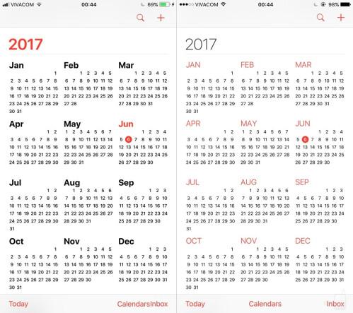 Calendar - iOS 11 (left) vs iOS (right)