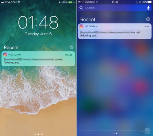 Notification Center - iOS 11 (left) vs iOS (right)