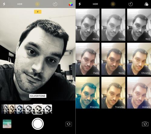Camera filters - iOS 11 (left) vs iOS (right)