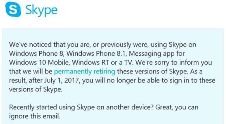 Microsoft to discontinue Skype apps on Windows Phone after