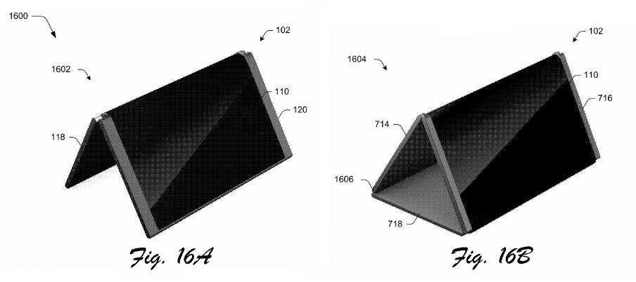 A graphic from one of Microsoft's patents for a foldable smartphone - The Microsoft Surface Mobile will include a built-in projector, Surface Pen, and Win32 app support, leak shows