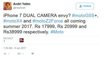 Pricing leaks on three Moto handsets carrying real-facing dual-camera setups